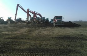 Rows of excavators, bull dozers, frontend loaders and other excavating equipment belonging to Selly Excavating